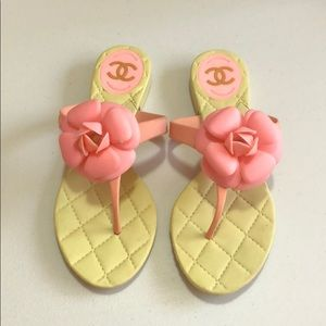 34df39986b38 CHANEL Shoes - Chanel camellia pink thong sandals size 36